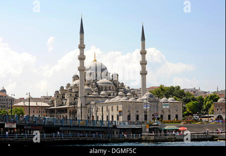 Yeni Cami or New Mosque, and Galata Bridge or Galata Koepruesue, Golden Horn, Halic, Bosphorus, Bogazici, Istanbul, - Stock Photo