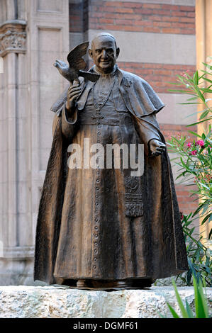 Statue of Pope John XXIII in front of Sent Antuan Kilisesi church, St Antonio Kilisesi, Saint Antoine, Saint Anthony's - Stock Photo
