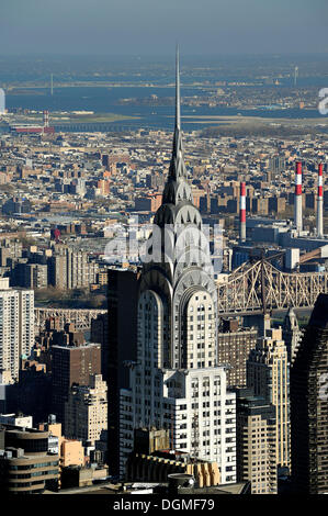 View from the Empire State Building to the Chrysler Building, Midtown Manhattan, New York City, New York, USA, North - Stock Photo