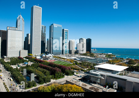 CHICAGO, IL - OCTOBER 19: An aerial view of Chicago, including Millennium Park, in Chicago, Illinois on October - Stock Photo