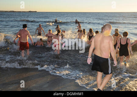 People bathing in winter at New Year in Sweden, Scandinavia, Europe - Stock Photo