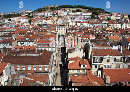 View from the Santa Justa lift, Elevador de Santa Justa, towards the Castelo do Sao Jorge, Lisbon, Portugal, Europe - Stock Photo