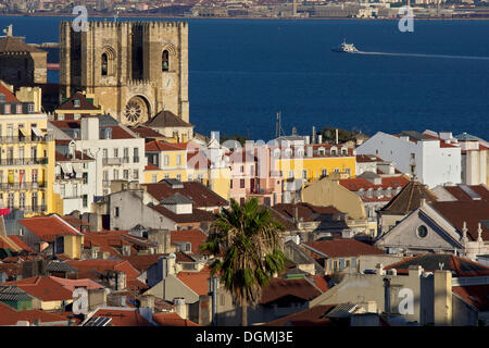 Catedral Sé Patriarcal cathedral, district of Alfama in front of the river Tagus, Lisbon, Portugal, Europe - Stock Photo