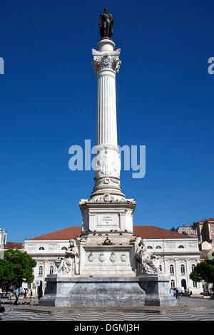 Statue of King Pedro IV, Praca Dom Pedro IV square, Rossio, Baixa, Lisbon, Portugal, Europe - Stock Photo
