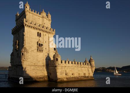Torre de Belem, Belem tower, UNESCO World Heritage Site, Belem quarter, Lisbon, Portugal, Europe - Stock Photo