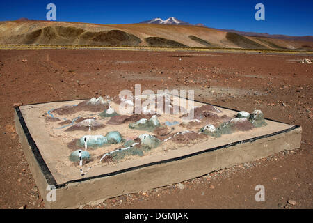 Three dimensional model of the environment, Uturuncu volcano, 6008m, at back, Atacama Desert, Altiplano, southern - Stock Photo
