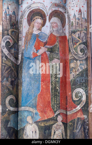 Gothic fresco of the Virgin Mary and a Saint, in the Romanesque-Gothic Abbey Church of St. Martin and St. Severus - Stock Photo