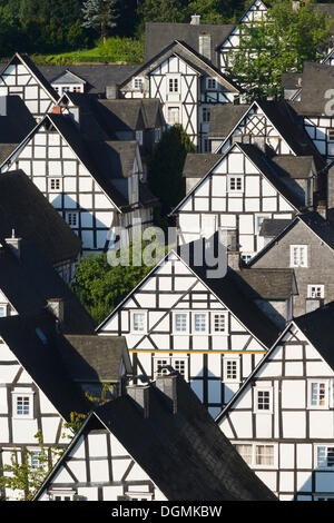 Half-timbered houses, Stadt Freudenberg, Siegerland region, Siegen-Wittgenstein district, North Rhine-Westphalia - Stock Photo
