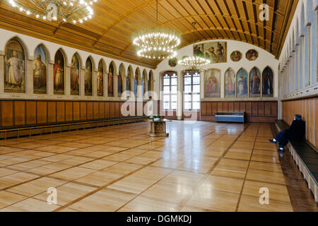 Imperial Hall in Frankfurt's Roemer with the gallery of all the kings and emperors of the Holy Roman Empire of the - Stock Photo