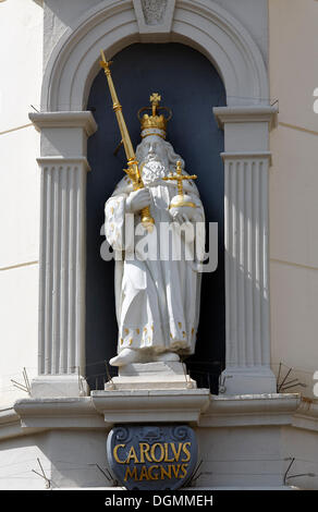 Statue of Emperor Charlemagne with scepter, orb and crown, historical town hall, Lueneburg, Lower Saxony - Stock Photo