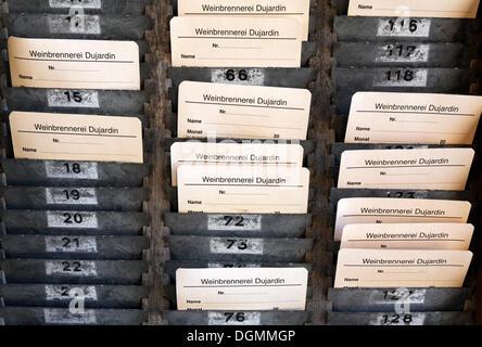 Board with time-stamped cards, time-punch machine, former Dujardin distillery, Krefeld-Uerdingen, North Rhine-Westphalia - Stock Photo