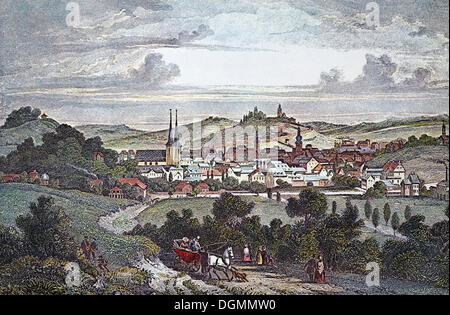 Elberfeld in 1845, historical townscape, steel engraving from the 19th Century, Wuppertal, North Rhine-Westphalia - Stock Photo