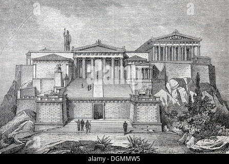 Acropolis, reconstruction from the 19th Century, historical book illustration, steel engraving, Brockhaus Encyclopedia - Stock Photo