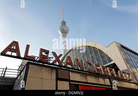 S-and U-Bahn station Alexanderplatz square, TV tower, Mitte district, Berlin - Stock Photo
