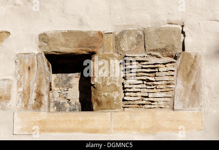 Walled-up window, Old Synagogue, Erfurt, Thuringia - Stock Photo