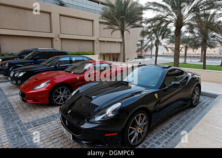 Ferraris parked in front of the luxury hotel Grosvenor House, Dubai Marina district, Dubai, United Arab Emirates, - Stock Photo