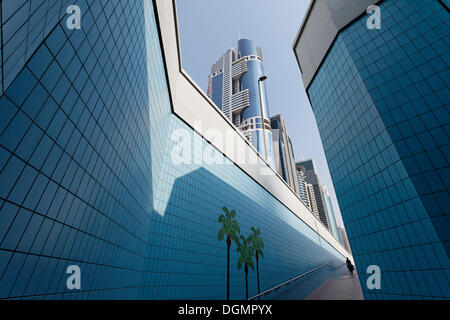Single person walking through a pedestrian underpass with painted palm trees, Sheikh Zayed Road, Dubai, United Arab - Stock Photo