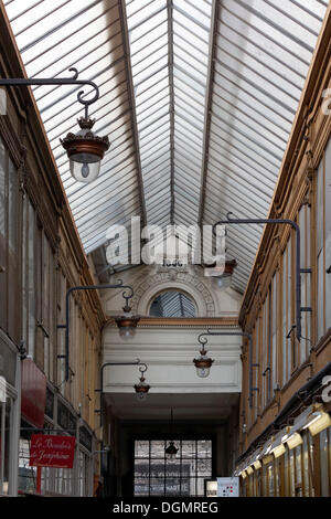 Shopping arcade of 1846 with a glass roof, Passage Jouffroy, 9th Arrondissement, Paris, Ile-de-France, France - Stock Photo