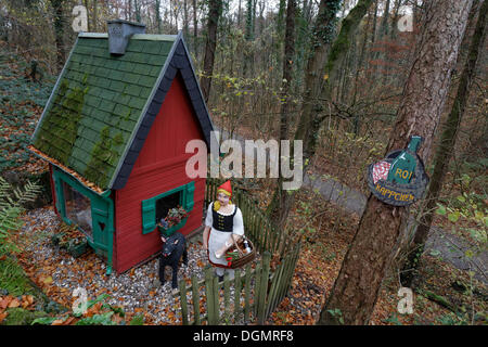 Illustration For The Red Riding Hood And Big Bad Wolf In Front Of A Cabin Woods