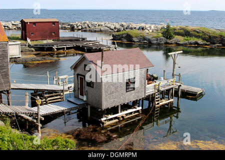 Stilt house, Blue Rocks, Lunenburg, Maritime Provinces, Nova Scotia, Canada - Stock Photo