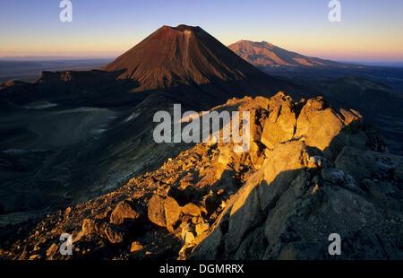 Mount Ngauruhoe and Mount Ruapehu, active volcanoes of the North Island of New Zealand, Tongariro National Park - Stock Photo