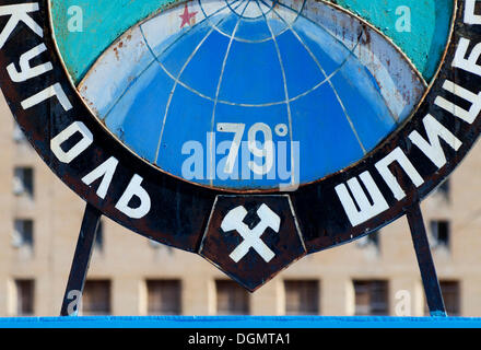 79 degrees north, detail of the symbolic name sign in the square of the abandoned Russian mining town of Pyramiden, - Stock Photo