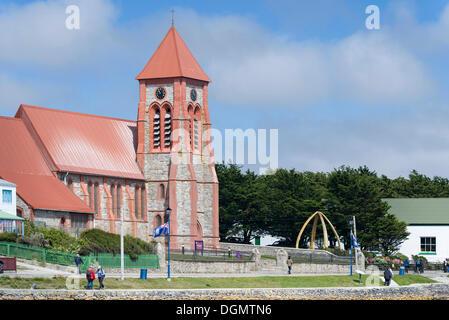 Christ Church Cathedral and Whalebone Arch, Stanley promenade, Stanley, Ostfalkland, Falkland Islands - Stock Photo