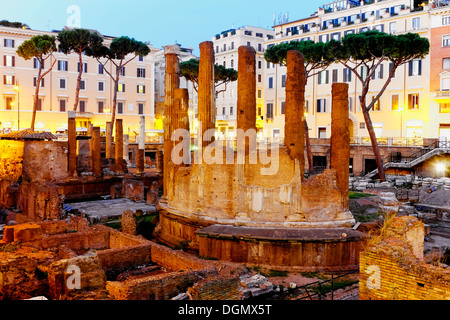Roman temples in Largo di Torre Argentina, Rome Italy - Stock Photo