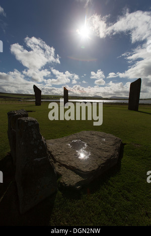 Islands of Orkney, Scotland. Silhouetted view of the megaliths that form the Standing Stones of Stenness. - Stock Photo