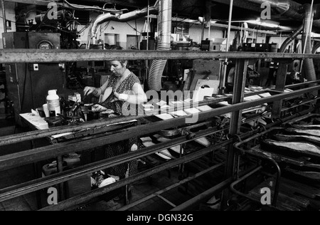 Inside a shoemaking industrial factory in the Spanish island of Mallorca - Stock Photo