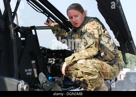 Capt Megan Howell, an AH-64 Apache helicopter pilot from 1st Attack/Reconnaissance Battalion, 10th Combat Aviation - Stock Photo