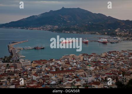 Classic View Of Zakynthos Town From Bocholi, Zakynthos (Zante) Island, Greece - Stock Photo