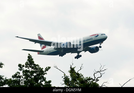 British Airways Boeing 777 Airliner G-YMMF on Landing Approach to London Gatwick Airport LGW West Sussex England - Stock Photo