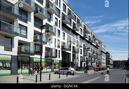 Warsaw, Poland, Nowe Powisle, a luxury housing complex of the investor Menolly poland - Stock Photo