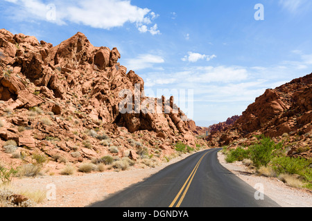 Mouse's Tank Road in Valley of Fire State Park, north of Las Vegas, Nevada, USA - Stock Photo