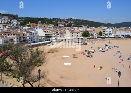 Tossa de Mar, Spain, the beach of Tossa de Mar on the Costa Brava - Stock Photo