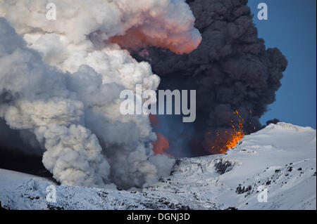 Cloud of ash from Eyjafjallajoekull volcano and a vapour cloud from lava flow in the Gigjoekull glacier tongue, - Stock Photo