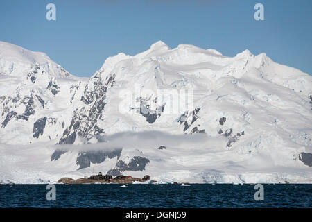 González Videla Antarctic Base, a Chilean research station, Waterboat Point, Paradise Bay, Antarctic Peninsula, - Stock Photo