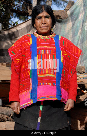 Triqui woman in traditional indigenous clothing, San Martin Itunyosu, Oaxaca, Mexico, North America - Stock Photo
