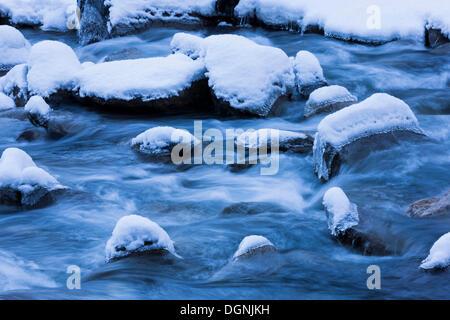Krimmler Ache River in winter, Krimml, Tyrol, Austria - Stock Photo