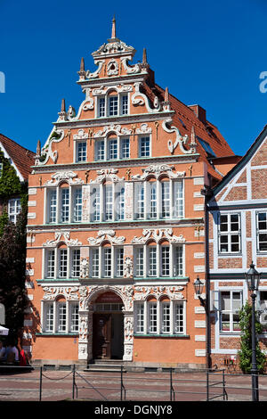 Restored Buergermeister-Hintze-Haus, Mayor Hintze building, in the small town of Stade, Lower Saxony - Stock Photo