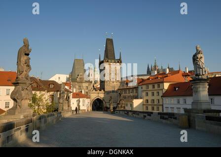 View over Charles Bridge in Prague, Czech Republic, Europe - Stock Photo