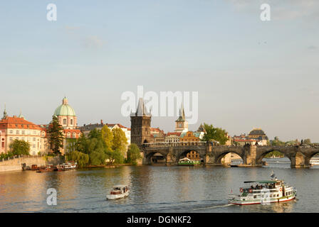 View over the Vltava River on the Charles Bridge, old town, UNESCO World Heritage Site, Prague, Czech Republic, - Stock Photo