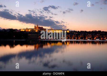 View over the Vltava River on the Prague Castle, Hradčany, UNESCO World Heritage Site, Prague, Czech Republic, - Stock Photo