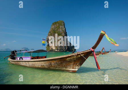Longtail boat at Laem Phra Nang Beach, Krabi, Thailand, Asia - Stock Photo