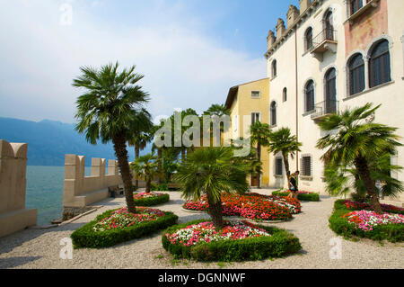Garden of the Palazzo dei Capitani in Malcesine on Lake Garda, Veneto, Italy, Europe - Stock Photo