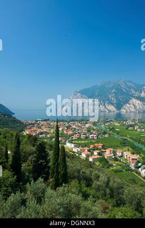 Aerial view of Torbole on Lake Garda, Trentino, Italy, Europe - Stock Photo