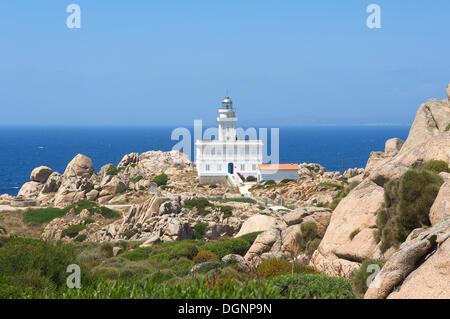 Lighthouse on cape Capo Testa, Santa Teresa di Gallura, Sardinia, Italy, Europe - Stock Photo