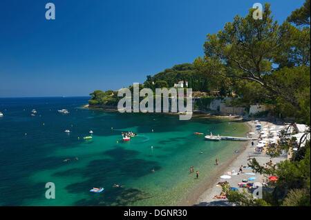 Paloma Plage beach, Saint Jean Cap Ferrat, Département Alpes-Maritimes, Region Provence-Alpes-Côte d'Azur, France - Stock Photo