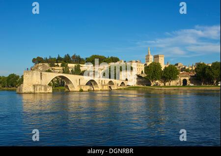 Pont Saint-Benezet bridge over the Rhone River, Avignon, Provence, Region Provence-Alpes-Côte d'Azur, France - Stock Photo